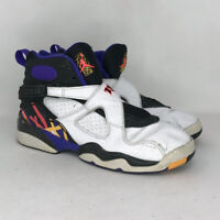 Nike Boys Air Jordan 8 Retro 305368-142 White Black Basketball Shoes Size 6.5 Y