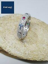 anello rosario argento 925 pave' zirconi bianchi e colorati