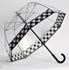 BLACK And WHITE PLAID Trim Clear Dome See Through Bubble Umbrella
