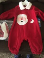 All Mine Baby Red Christmas Santa Face 1-Piece Outfit W/ Hat 6-9 Months NWT!