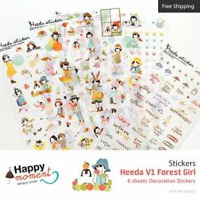 Heeda V1 Forest Girl Stickers For Diary Organizer Decoration 6 sheets