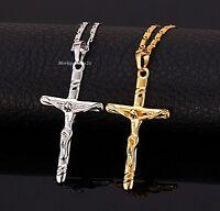 Jesus Kreuz Anhänger Kette Echt Gelbgold vergoldet Black Halskette Geschenk Edel