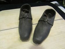 """Stunning Antique Child's Leather/Wood Lancashire Clogs Shoes 5.5"""" - 19th Century"""