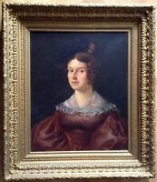 Antique Oil Painting Romantic 19th Century Portrait of Lady c1830 Henry SCHEFFER