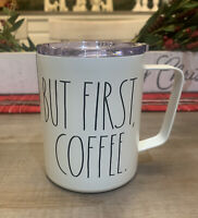 Rae Dunn - BUT FIRST COFFEE - Insulated Stainless Steel White Coffee Mug W Lid