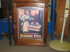1900 DIAMOND DYES Store Display Oak Dye Cabinet w/ Advertising Tin Lithograph