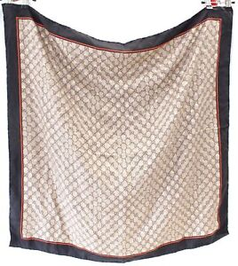 Ladies GUCCI Brown & Black 100% Silk Monogrammed Hand Rolled Square Scarf  - S28