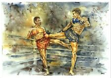 "Boxing Muay Thai Sport Fighter Watercolor Print from Original 12"" x 16.5"""