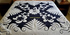 Hawaiian quilt FULL/TWIN BEDSPREAD SEA TURTLES 100% hand quilted/hand appliquéd