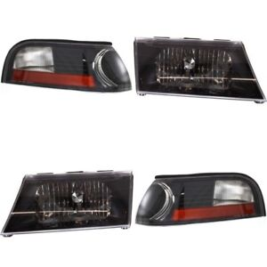 MERCURY GRAND MARQUIS 2003 2004 BLACK HEADLIGHTS HEAD CORNER LIGHTS LAMPS