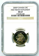 2004 P CANADA 25 CENT NGC MS67 FIRST FRENCH SETTLEMENT QUARTER CERTIFIED