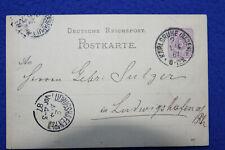 Ganzsache Postkarte 5 Pf 01.04.1887 Karlsruhe -> Gebrüder Sulzer in Ludwigshafen