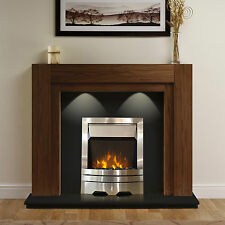 ELECTRIC WALNUT SURROUND BLACK SILVER MODERN WALL FIRE FIREPLACE SUITE LIGHTS