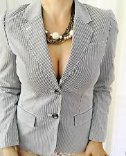 SPORTSCRAFT WOMENS BLAZER STRIPED COTTON ELASTANE TAILORED WORK SZ 8