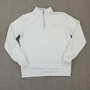 Peter Millar Element 4 Shirt Men's Large Long Sleeve 1/4 Zip Wicking Grey LOGO