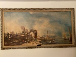 F Guardi  Fantastic landscape Rare piece owned by Smithsonian museum  founder!!