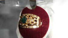 LADIES SOLID 18CT GOLD EMERALD & CLEAR STONE FANCY RING