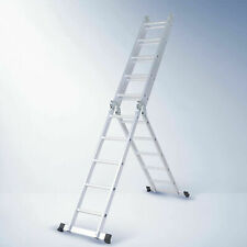 Aluminium Ladder Extension 5.7m Multipurpose Folding Adjustable steps w Foot Bar