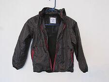 BOY'S OLD NAVY WINDBREAKER JACKET SMALL 6/7 BLACK W/GRAY PIN STRIPE & RED ZIPPER