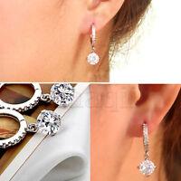 ED023 2pcs fashion 316L Titanium steel shining Zircon Stud earrings gift