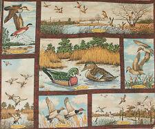 1 Yd. Wild Life Wallhanging Panel Quilt Fabric Mallard  Teal Shoveler Ruddy Duck