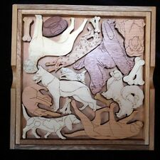 Dog Lovers Puzzle - artistic & challenging wood brain teaser with base & cover