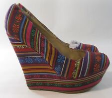 "Mexican Inspired Color 5.5"" High Heel 1.5"" Platforms Wedge Sexy Shoes Size 8"