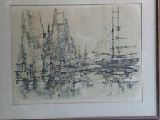 Port Scene, a Lithograph by Swiss Artist Max Gunther