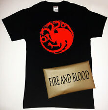 Game of Thrones House Targaryen Sigil T-Shirt with Fire and Blood Packaging