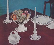 Vintage Crochet PATTERN Milk Glass Candlesticks Compote