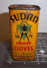 Vintage 1931 Sudan ground CLOVES 2 oz spice tin, great graphics & colors, WESCO