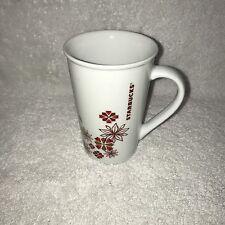 Starbucks 12 oz Slim White Red Flower Coffee Tea Mug Cup Star Bucks