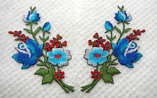 Blue Red roses pair flowers floral boutique Embroidered Sew Iron on Patch