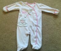 Baby Girl George Sweet Dreams Rabbit Babygrow Velour Pale Pink Size 0-3 Months