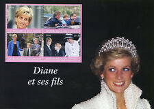 Congo 2018 MNH Princess Diana & Sons Prince William Harry 4v M/S Royalty Stamps