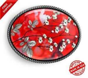 Cherry Blossom Belt Buckle - Oriental Floral Handmade Silver Buckle - 237