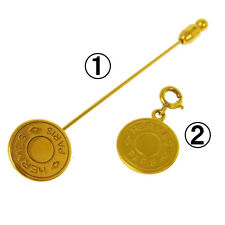 Authentic HERMES Vintage Selye Coin Motif Brooch Pin Key Charm 2 Set AK08793