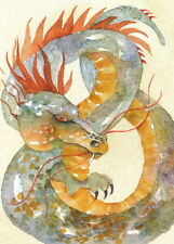 "ACEO Giclee PRINT watercolor 2.5"" x 3.5""  'BELLERUTH'S DRAGON' mystical spirit"