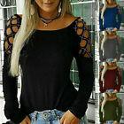 Women Cold Shoulder Tops Blouse Ladies Sexy Party Long Sleeve T Shirt Plus Size