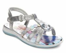 Disney Frozen Elsa & Anna Girls Toddler Silver Rhinestone Sandal Shoes Size 6