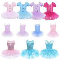 Girls Bowknots Ballet Tutu Dance Dress Kids Gymnastics Leotard Skirt Dancewear
