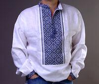 VYSHYVANKA Man Ukrainian Embroidered LINEN White SHIRT S-4XL Вишиванка з мережко