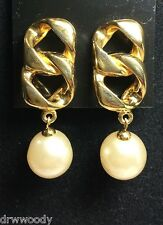 AUTHENTIC CHANEL VINTAGE Chain Earrings W Faux Pearl Drop ~ 1993 Collection