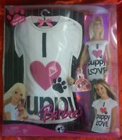 Barbie Doll 2008 with Puppy Woof Bag and matching Girls Tee Shirt Set M9337