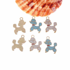 Lot of 12 Enamel Plated Golden Alloy Poodle Dog Charm Pendant Findings 20x16 MM