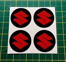ALLOY WHEEL STICKERS 4 x 110mm Suzuki RED centre cap badge