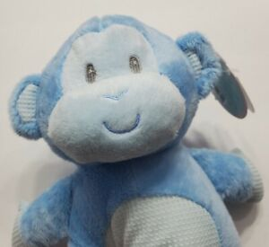 """BABY BY FIRST & MAIN BLUE MONKEY PLUSH RATTLE SOFT STUFFED ANIMAL 10"""" TOY TAGS"""