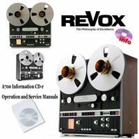 Revox A700 tape recorder reel to reel operation instruction service manual cd