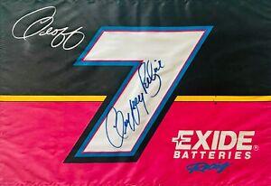 """90's Geoff Bodine Exide Batteries Signed 12"""" X 18"""" Nascar Flag"""