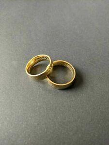 """Partnerringe """"Herr der Ringe """" beidseitig graviert Wolfram vergoldet Gr: 51 + 57"""